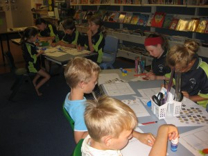 Students working at their own level to create a brochure for our class shop.