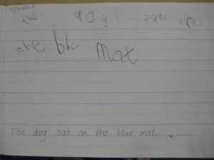 Abby was encouraged to use an adjective in her writing.